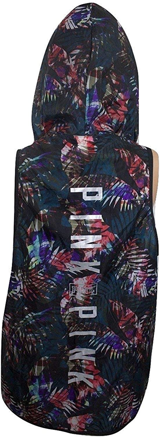 Victorias Secret PinkXS SSleeveless Hooded AnorakUnlined Vest Multi color Tropical