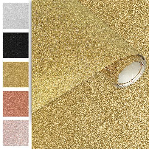 DecoMeister Klebefolien Deko-Folien Selbstklebefolie Möbelfolie Selbstklebend Glitzernd Einfarbig Einheitliche Glitter-Farbe 45x150 cm Glitzer Gold