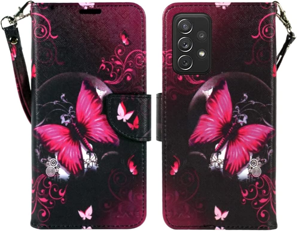 ZASE Samsung Galaxy A32 5G Wallet Phone Case for Women Pouch PU Leather Flip Folio Cute Design Cover w/Kickstand ID Card Slot Wrist Strap Compatible with Galaxy A32 5G 2021 (Hot Pink Butterfly)