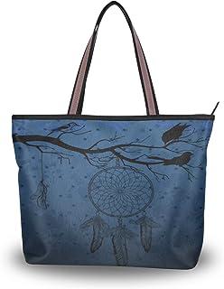 Mnsruu Damen-Handtasche mit Reißverschluss, große Oberseite, Schultertasche, lässig, Einkaufstasche, L (dunkelblauer Hinte...