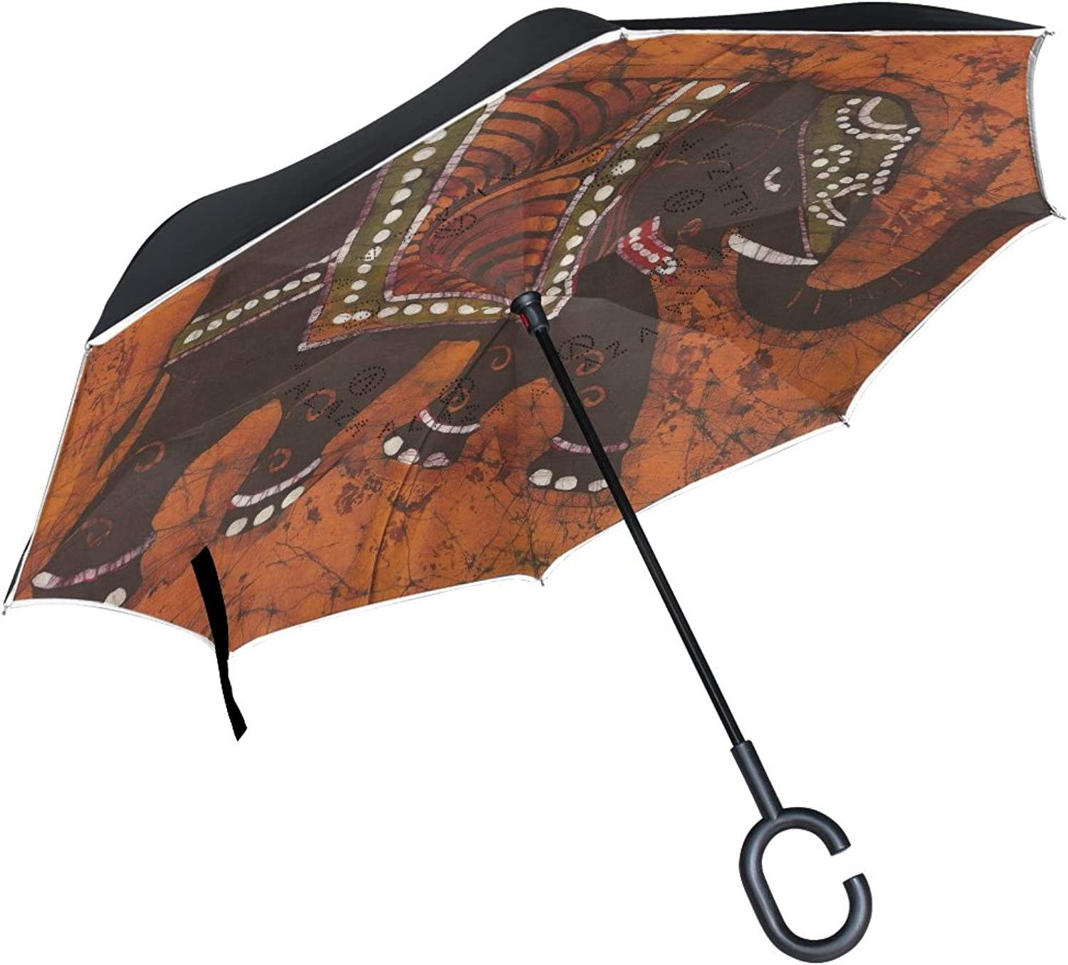 MASSIKOA Indian Decorated Elephant Ingreened Double Layer Straight Umbrellas Inside-Out Reversible Umbrella with C-Shaped Handle for Rain Sun Car Use