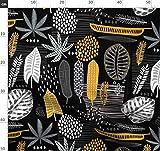schwarz, weiß, gelb, Blätter, grau, tropisch, botanisch