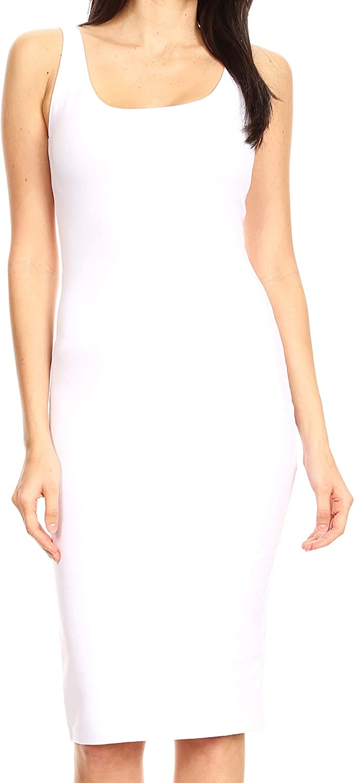 Sakkas Women's Midi Pencil Slim Stretchy Sleeveless Solid Dress Made in USA