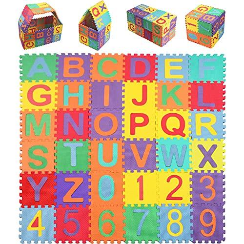 StillCool Alfombra Puzzle Niños de Letras para Niños Bebe Infantil 15cm * 15cm,36 Piezas de Goma Espuma Suave Eva alfombras de Numeros 0 al 9 y 26 Letras (A-Z)