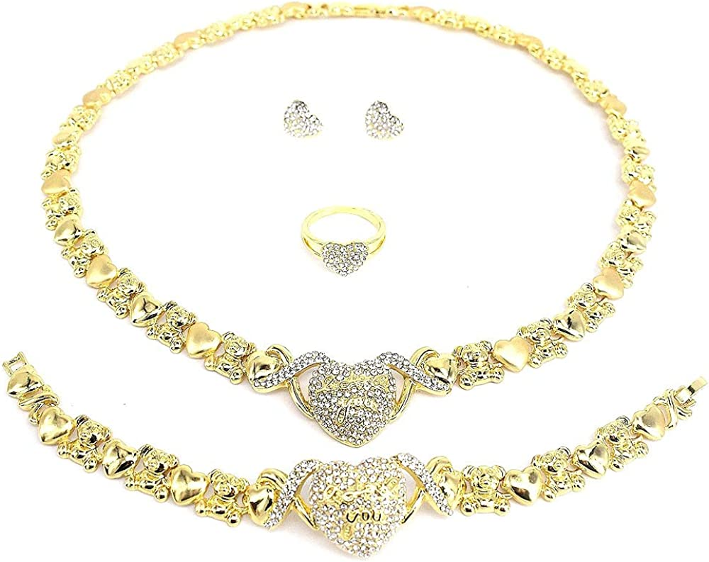 Women's Girls XOXO Hugs & Kisses 4 Pieces Necklace Set Heart Pedant I Love You Teddy Bear Includes Necklace Bracelet Earrings & Ring Layered with Real Gold Plated #13