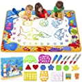 Toyk Aqua Magic Mat - Kids Painting Writing Doodle Board Toy - Color Doodle Drawing Mat Bring Magic Pens Educational Toys for Age 1 2 3 4 5 6 7 8 9 10 11 12 Year Old Girls Boys Age Toddler Gift by Toyk