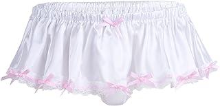 Alvivi Men's Silky Satin Ruffled Briefs Sissy Lingerie Girly Maid Skirted Panties Underwear