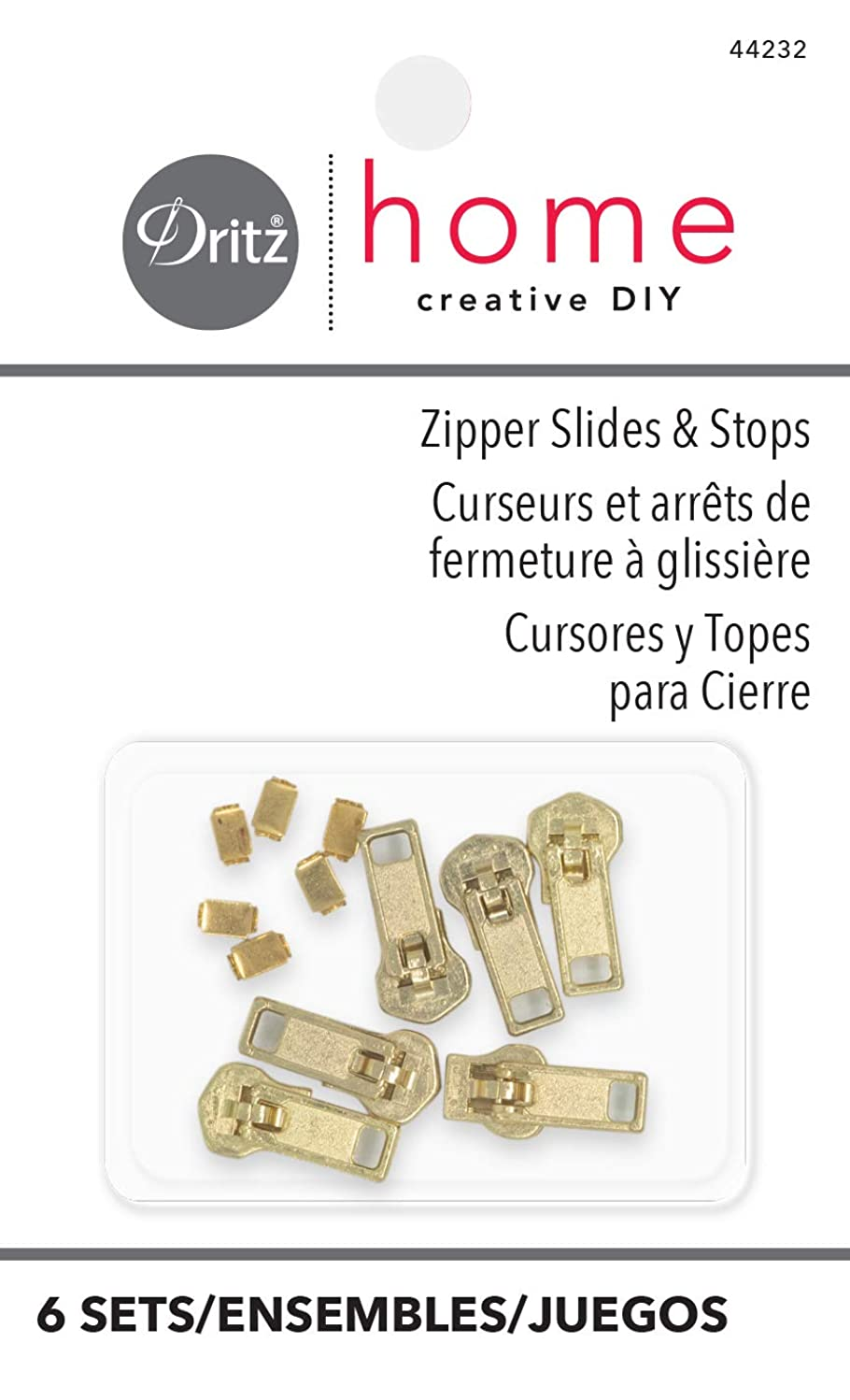 Dritz Home 44232 Zipper Slides & Stops, Brass (6-Sets)