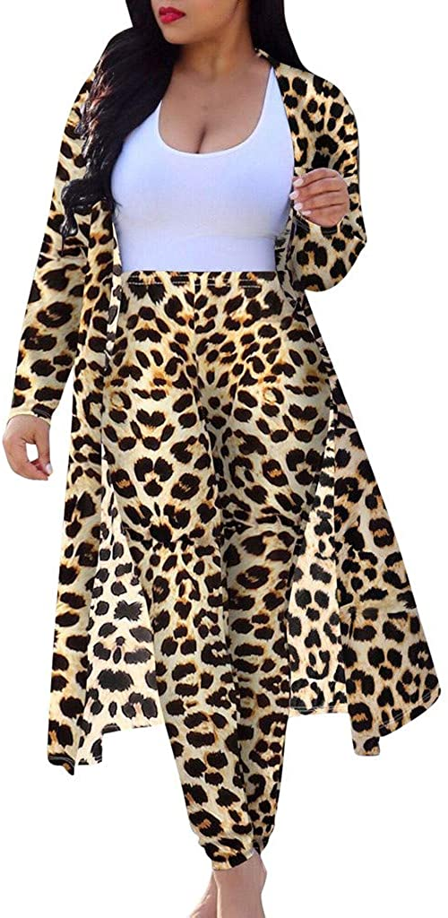Forwelly Womens Sexy 2 Piece Outfits Fashion Leopard Print Long Sleeve Cardigan Skinny Leggings Sets Pant Suit