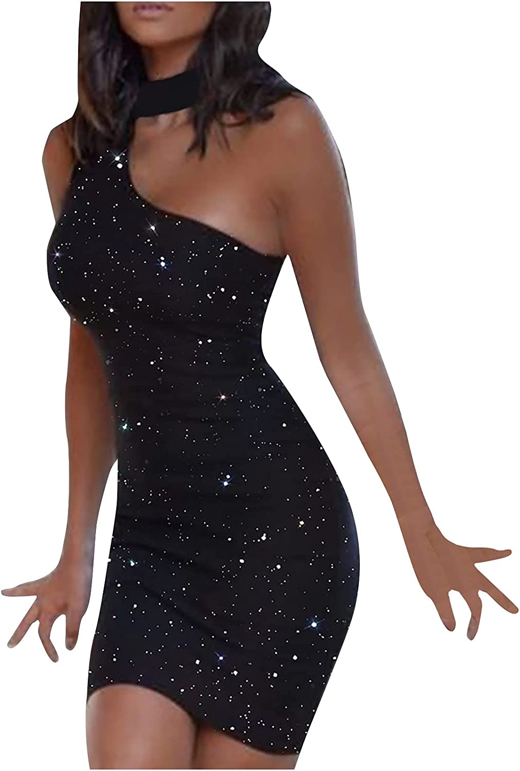 Sexy Dresses for Women Sleeveless One Shoulder Sparkly Club Mini Dress Trendy Evening Cocktail Bodycon Party Dress