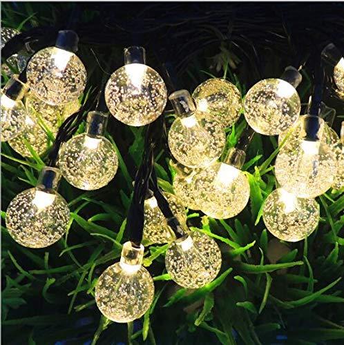 Kuson LED Lichterkette Solar Außen 9M 50er LED Kristallkugeln Lichterketten, 8 Modi Warmweiß Wasserdicht Deko für Weihnachten Garten, Terrasse Fenster Veranda Partys Dekor Zimmer