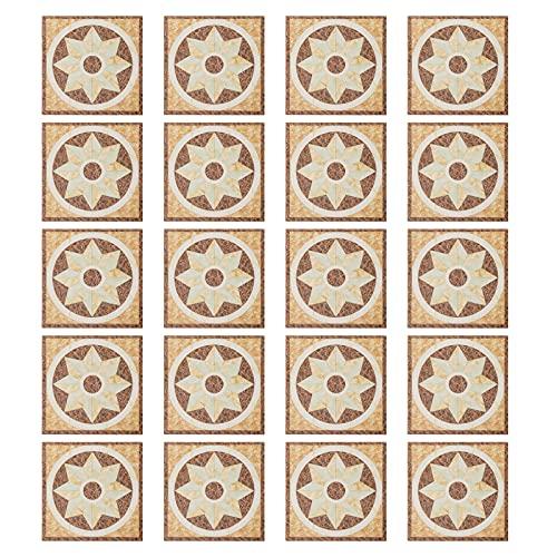 KIMI-HOSI 20 Piezas 8 x 8 cm Pegatinas de Azulejos Calcomanías de Azulejos Retro Stickers de Azulejos Pegatinas de PVC para Azulejos de Baño y Cocina - Impermeable