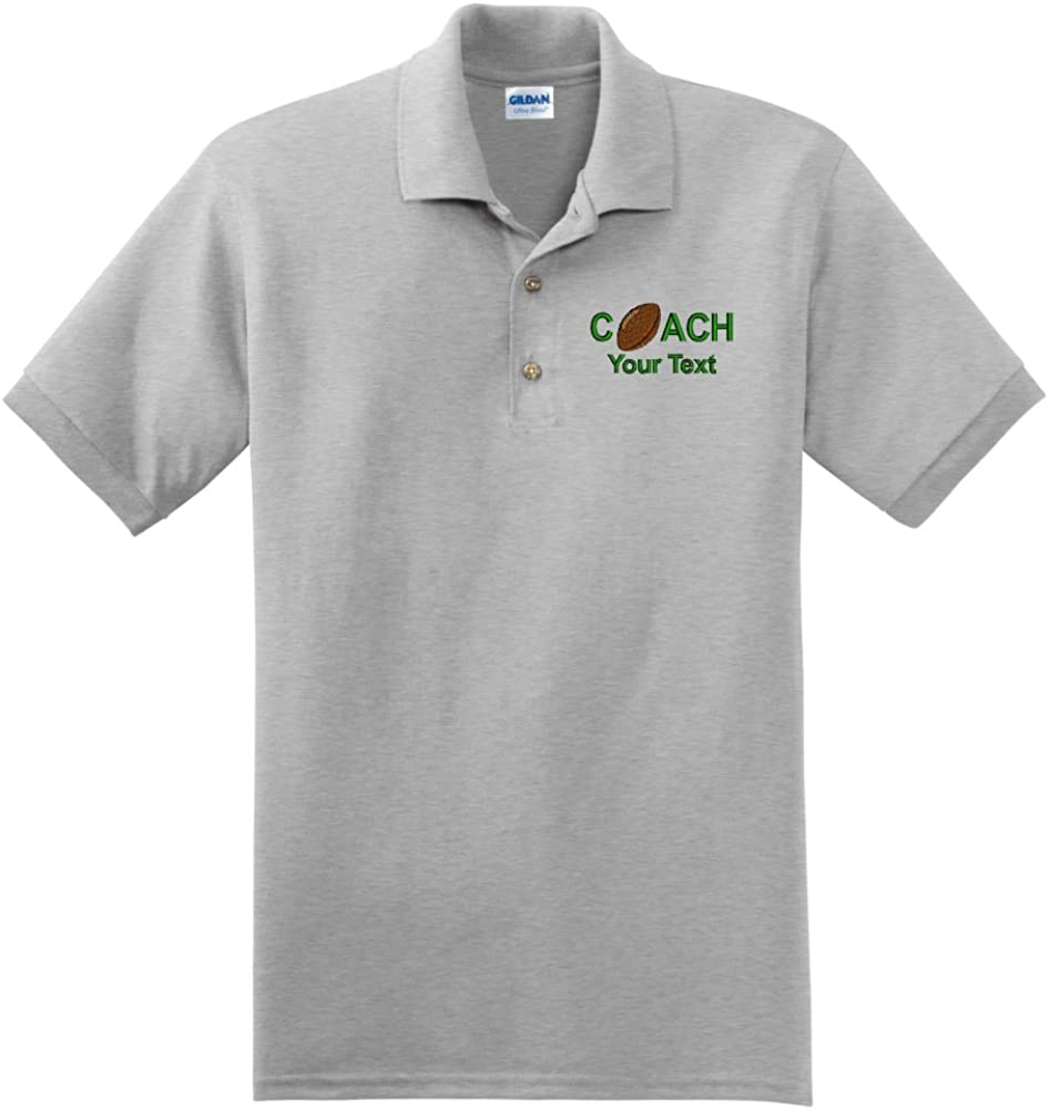 Personalized custom embroidered Football Coach on polo shirt