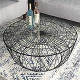 GSH- Side table Couch Beistelltisch Runder Mid-Century Couchtisch mit klarer Platte aus gehärtetem Glas und Gestell aus schwarzen geometrischen Linien Dekorativer Couchtisch