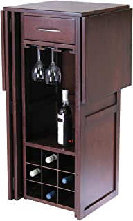 """Contemporary Home Living 50"""" Walnut Finish Solid Composite Wood Wine Bar Expandable Counter"""