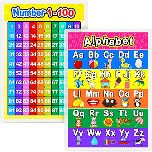 Laminated Preschool Poster for Toddlers and Kids, 2 Pieces Full Laminated Posters Alphabet and Numuber 1-100 for Nursery Homeschool Kindergarten Classroom, 16.9 x 11.9 Inch