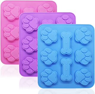 3 Pcs Silicone Molds Puppy Dog Paw & Bone Shaped 2 in 1, 8-Cavity, FineGood Reusable Ice Candy Trays Chocolate Cookies Bak...
