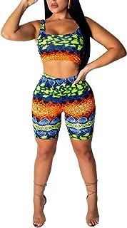Ophestin Womens Animal Print 2 Piece Outfits Tight Crop Tank Top Shorts Set