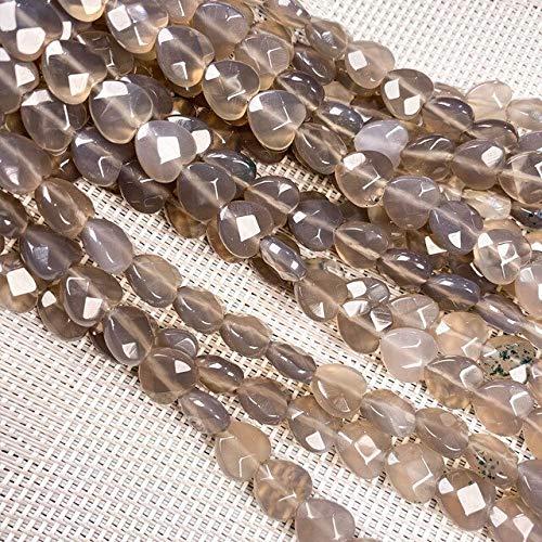 Piedra Natural Cuentas Facetadas Corazones Ojo De Tigre Amatistas Opal Cuentas Sueltas para Joyería DIY Fabricación De Collar Pulsera Tamaño 10X10Mm-Ágata Gris