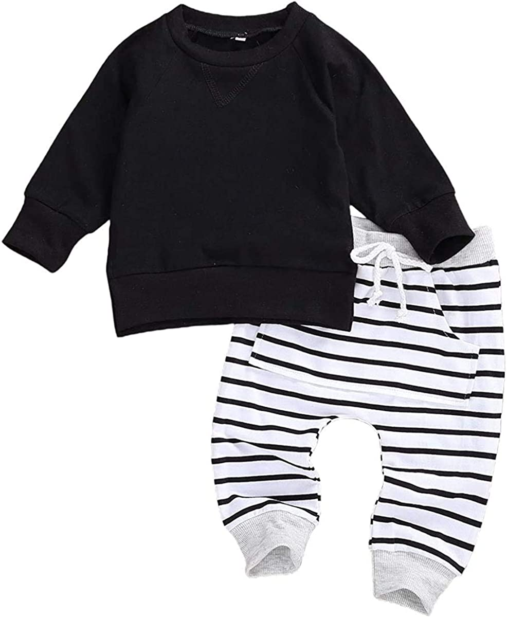 2Pcs Toddler Infat Baby Boys Girls Cotton Clothes Long Sleeve Plain Tops Shirt & Long Pants Clothing Sets