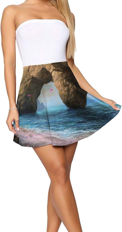 RHRFOL Fragility of Life Women's Basic Versatile Stretchy Flared Casual Mini Skater Skirt