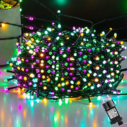 Ulinek 50M 500LED Guirnaldas Luces Navidad Exterior 4 Colores Cadena Luces con 8 Modos IP44 Impermeable Luces LED Decorativas para Arbol Navidad Interior Habitacion Jardin Fiesta Bodas Navidad