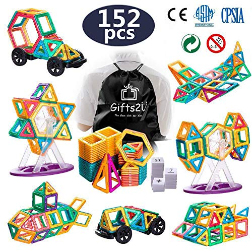 Gifts2U Magnetic Building Blocks,152pcs Magnet Blocks Set Construction Kit for Kids with Wheel Letters Numbers Portable Backpack,Magnet Stacking Set,Creative Educational STEM Toys