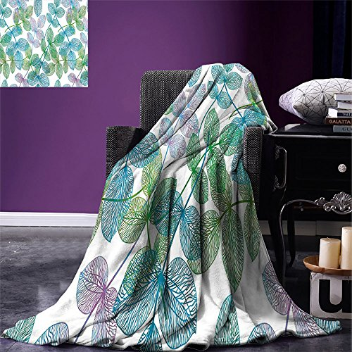 Luoiaax Manta de impresión Digital Floral con diseño de Hojas de Hiedra y Arco Iris, Color Degradado, para Verano, Color Azul pálido, Helecho Verde, Morado y Blanco