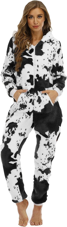 Misaky Christmas Women's Plush Onesie Fleece Pajamas Sleepwear Milk Print Hooded Jumpsuit Rompers Homewear