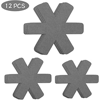 Pan Pot Protectors, Larger & Thicker Pan Protector Pads, Cyan/Orange/Gray Pan Protectors Available, 3 Different Sizes, 12 Pcs Pot Divider Pads for Protecting and Separating Your Cookware(Gray)