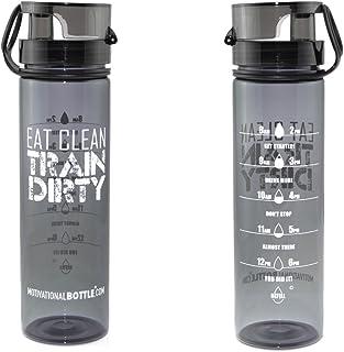 Motivational Bottle - 27oz Flip Lid Water Bottle   Fitness -Workout-Sports Bottle   Measurements   Goal Marked Times for M...