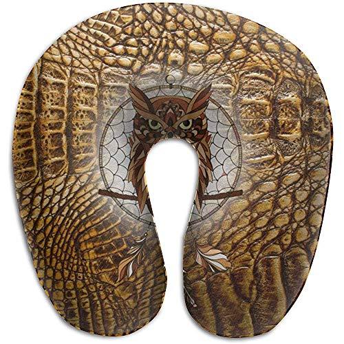 Hao-shop Piel de Hueso de cocodrilo Dorado Imprimir Almohada en Forma de U Almohada de Cuello de Espuma para Viajar Dolor en el Cuello con Material Resistente