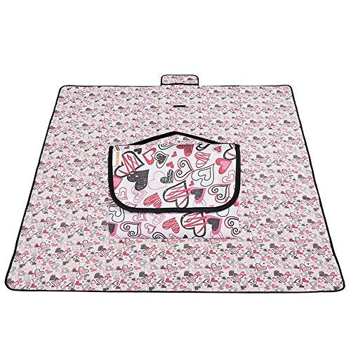 OUTDOOR Coco Picknick-Decke-Maschinen-waschbarer tragbarer wasserdichter dauerhafter im Freienbaby-kriechender Teppich 150 * 200cm (Farbe : Heart)