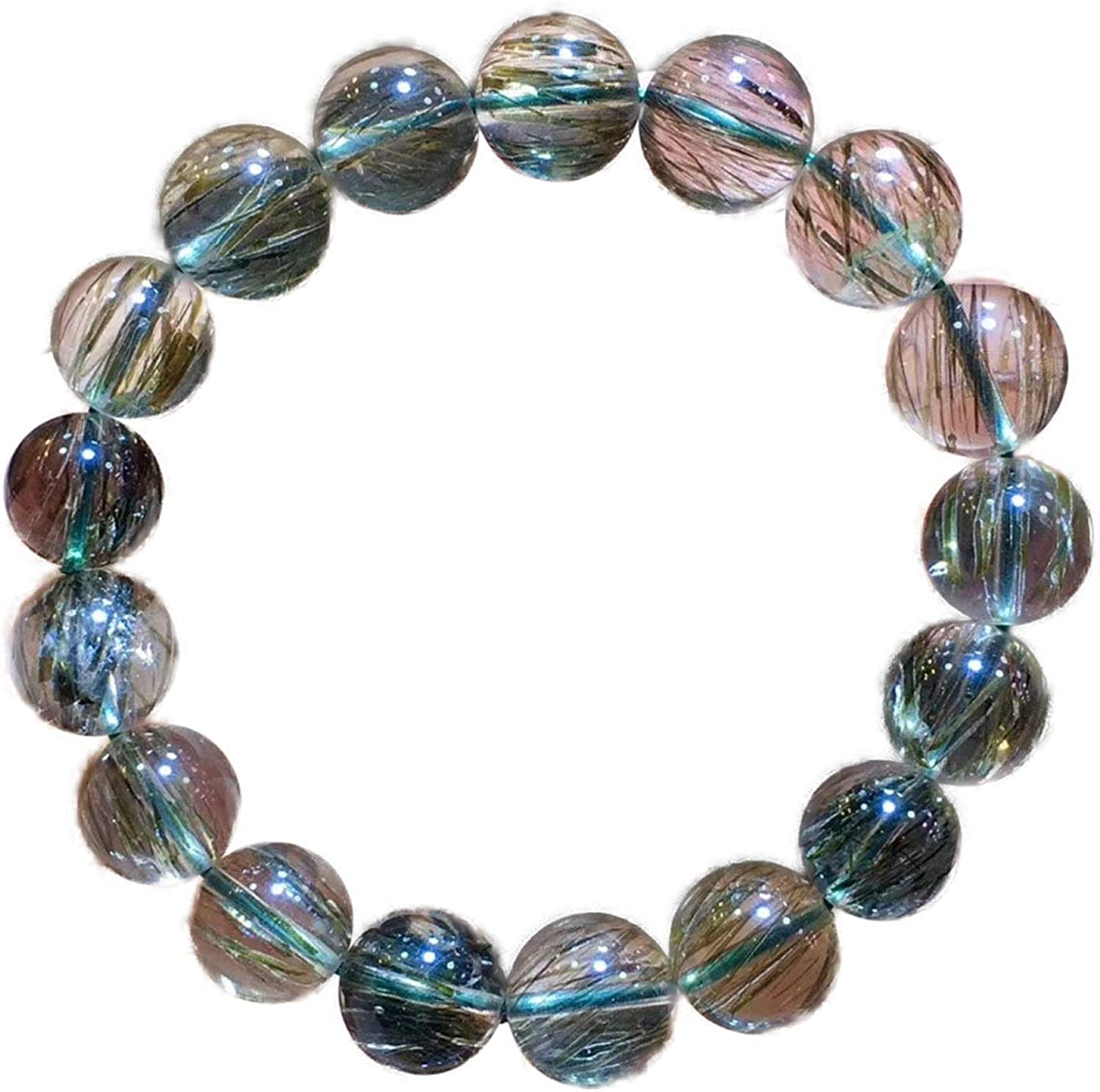 12mm Natural Green Tourmilated Rutilated Online limited product Quartz Crystal Ro Clear Max 41% OFF