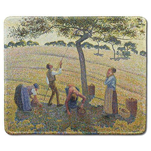 Art Mousepad - Naturkautschuk-Mauspad mit berühmtem Kunstgemälde der Apfelernte von Camille Pissarro - Genähte Kanten