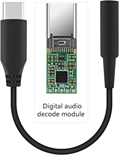 Geekria QuickFit Type C to Aux, USB-C to A 3.5mm Female Headphone Jack Audio Adapter, CDLA Headphones Conversion Cord, Compatible with Pixel 3, Pixel 2/2XL, Samsung S9, Huawei Mate 20