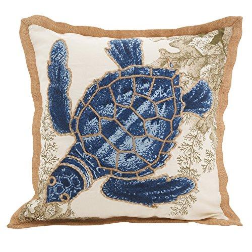SARO LIFESTYLE 5440.NB20S Neptunian Collection Sea Turtle Cotton Throw Pillow, 20'