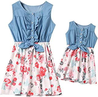 27397c5309f Fiaya Mommy and Me Daughter Dress Striped Print Lace Flare Short Sleeve  Sleeveless Dress Family Matching