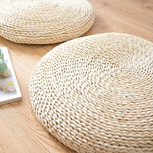 Puf Redondo Tatami Cojín de Asiento de Suelo rústico Natural Decoración del hogar Yoga Meditación Cojín de Paja rústico para Sala de Estar