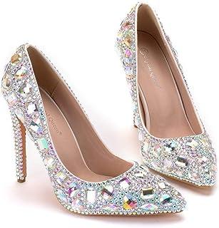 Women's Bridal Shoes,11 cm Pointed shoes Colorful diamond rhinestone Wedding shoes,Prom Club Business Evening Wedding Party Dress Bridesmaid shoes,37 EU