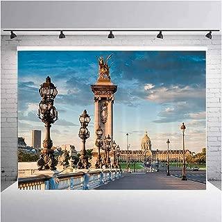 Paris Decor Collection Photography Background Cloth Pont Alexandre III Bridge 1896 Spanning The River Seine Ornate Art Nouveau Lamps Image for Photography,Video and Televison 19.6ftx10ft
