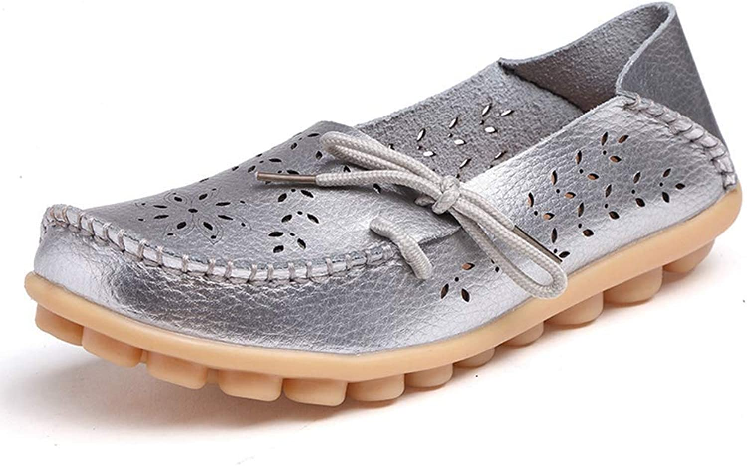 Elsa Wilcox Women Ladies Round Toe Casual Wild Breathable Summer Nurse Leather Slip-On Driving Walking Flats shoes Comfortable Loafers
