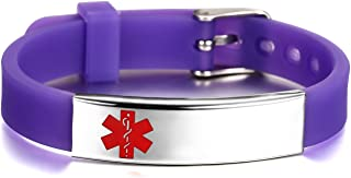 JF.JEWELRY Medical Alert ID/Allergy Bracelet for Kids Silicone Band & Stainless Steel Tag Custom Engraved