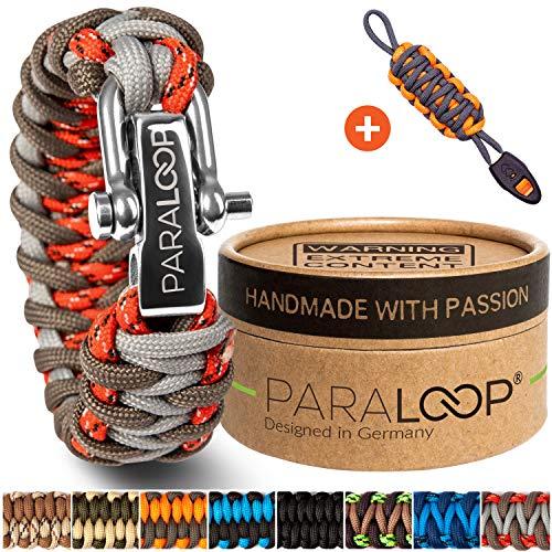 PARALOOP Deluxe Exklusives Paracord Armband für Männer + Schlüsselanhänger mit Signalpfeife in Handarbeit geflochten mit Geschenkbox Verschluss aus Edelstahl Männerarmband Rot Grau