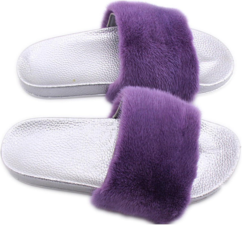 QMFUR Fashion Women's Real Mink Fur Slippers Soft Sole Flat (9, Silver-Purple)
