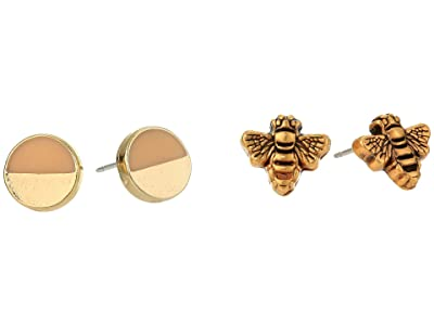 Alex and Ani Color Infusion Studs Earrings, Set of 2 (Rose Gold/Silver/Honey Bee) Earring