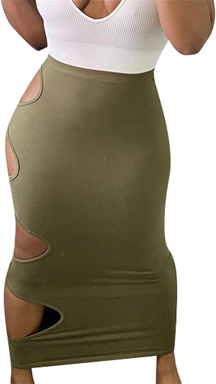 Women's High Waist Midi Skirts Sexy Hole Hollow Out Night Clubwear Bodycon Elastic Pencil Skirt