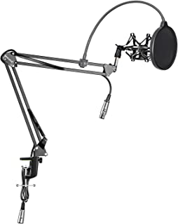 NEEWER NW-35 Microphone Suspension Boom Scissor Arm Stand with Built-in XLR to XLR Cable, Metal Shock Mount, Table Mounting Clamp and Pop Filter Windscreen Shield