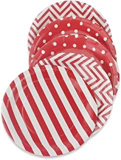 Red Party Paper Plates 36pcs - 9inch Biodegradable Round Plates Polka Dot Stripe Chevron for Cakes, Dessert, Snack, Fruits