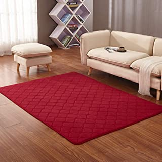 Solid Rectangular Area Rugs Soft Living Room Children Bedroom Rug Striped Grid Fleece Anti-Slip Carpets Home Decor Modern Indoor Outdoor Runners Nursery Wine Red 2' X 6'